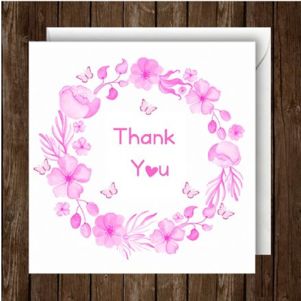 Thank You Greeting Card Floral Pink